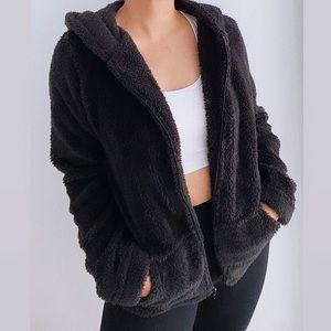 Faux Fur Fuzzy Black Hoodie Sweater